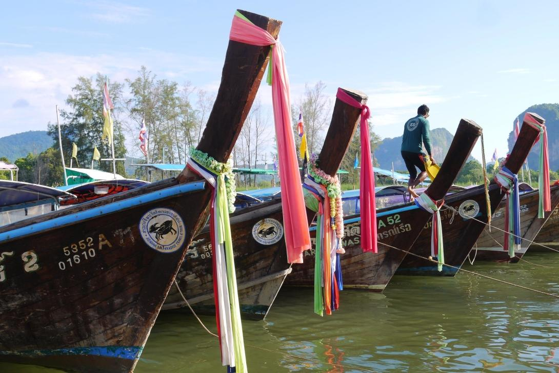 Longtail boats line up in Projects Abroad bucket list location, Thailand